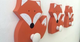 Fox, Wandhaken, Orange Fox, Woodland Kids Decor, Woodland Kindergarten, Holz ...