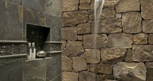 Rock Tile Shower Beste 25 Stone Shower Ideen auf Pinterest Log Cabin Bathroom